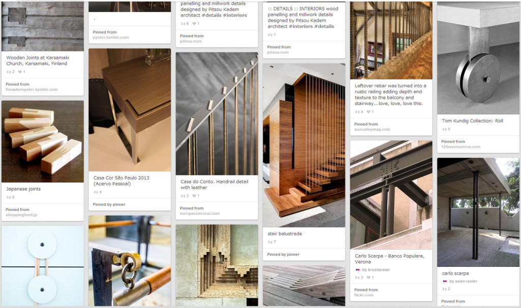 Design is in the Details: From Furniture to Architecture - detail inspiration from pinterest board by T. Nishibayashi