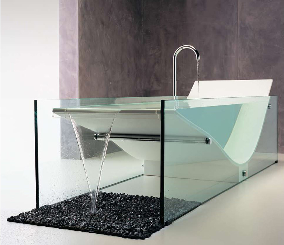Le Cob glass soaking tub - Oh that tub! #design post by Studio MM