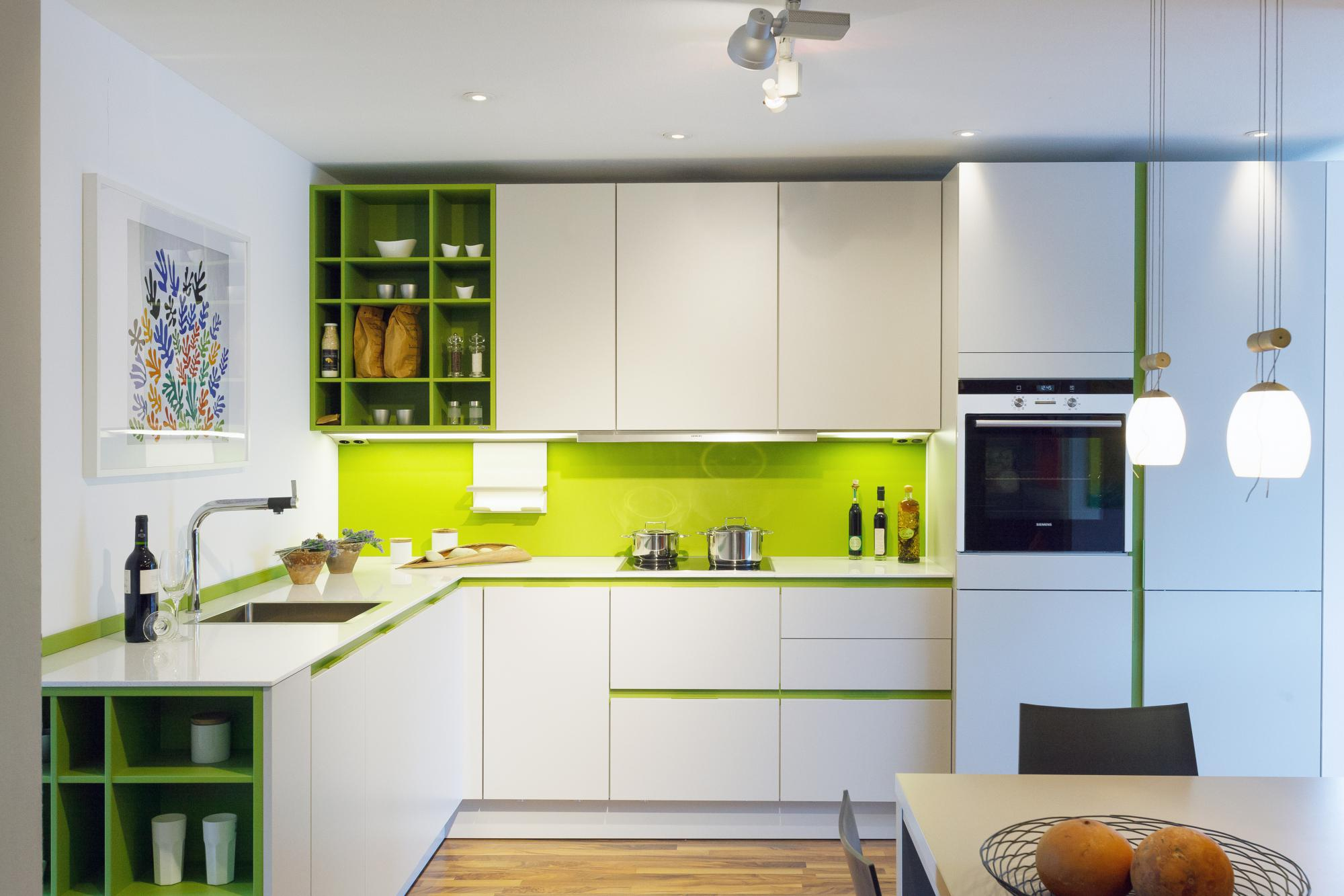 Contemporary kitchen design kitchens with a pop of color for Modern kitchen cabinets colors