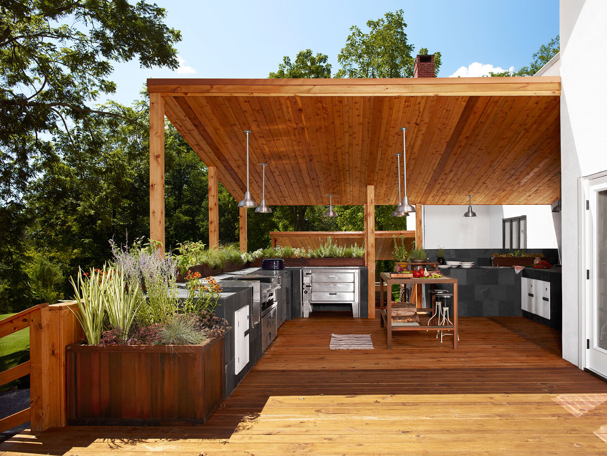 Home design inspiration modern outdoor kitchens studio for Patio exterieur en bois