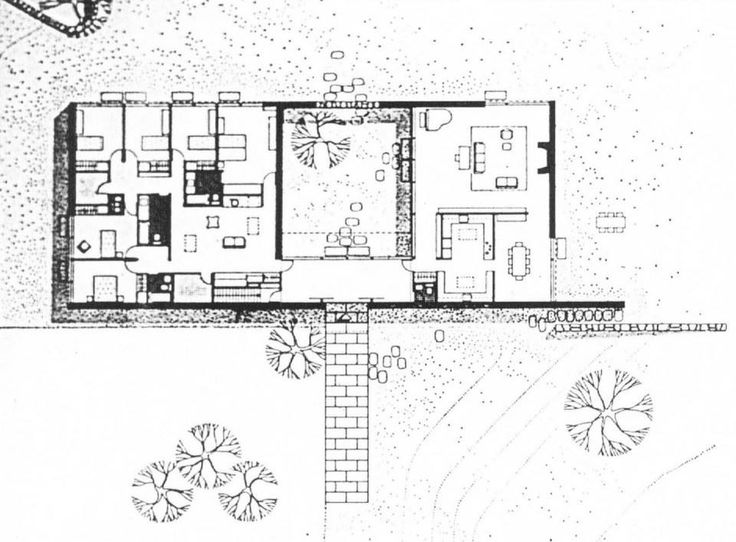 Modern Courtyard House Design Plan: Marcel Breuer Hooper House