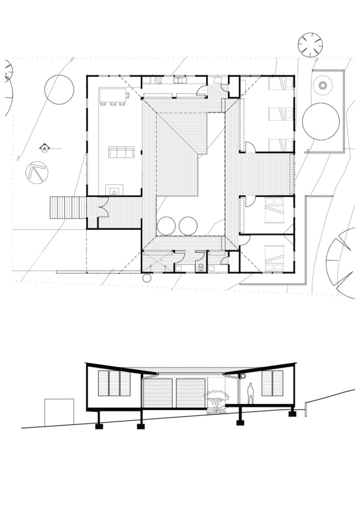 Modern Courtyard House Plan: Bourne Blue Architecture