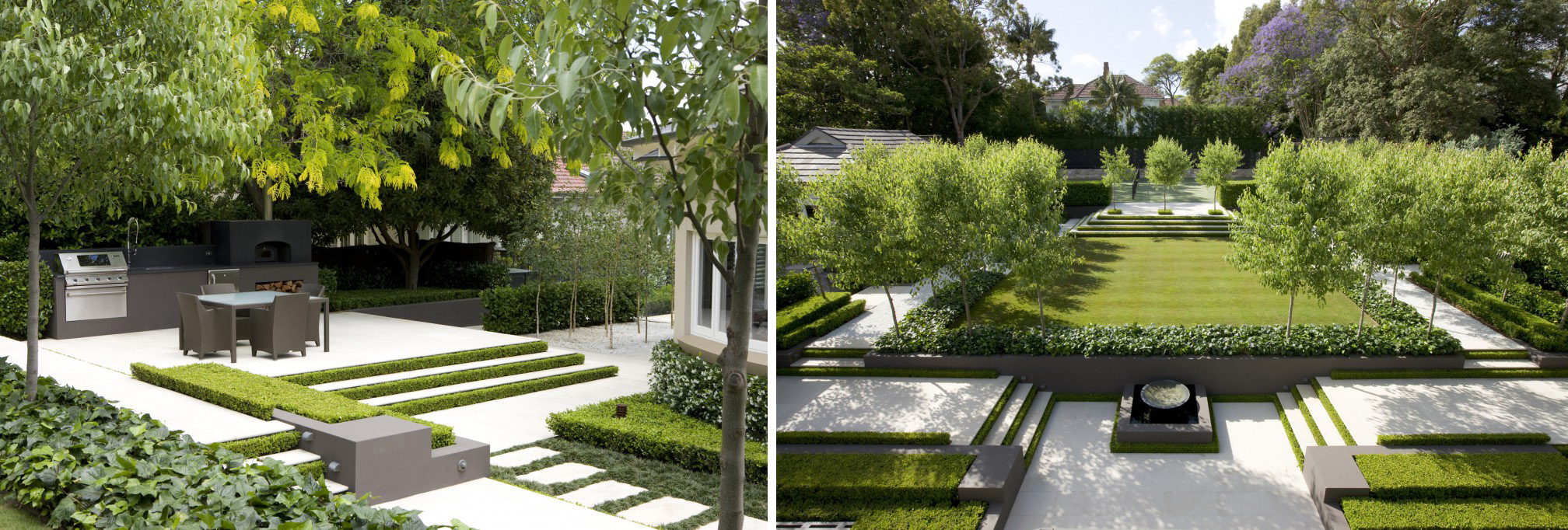 Contemporary landscapes modern gardens inspiration for for Modern house design with garden