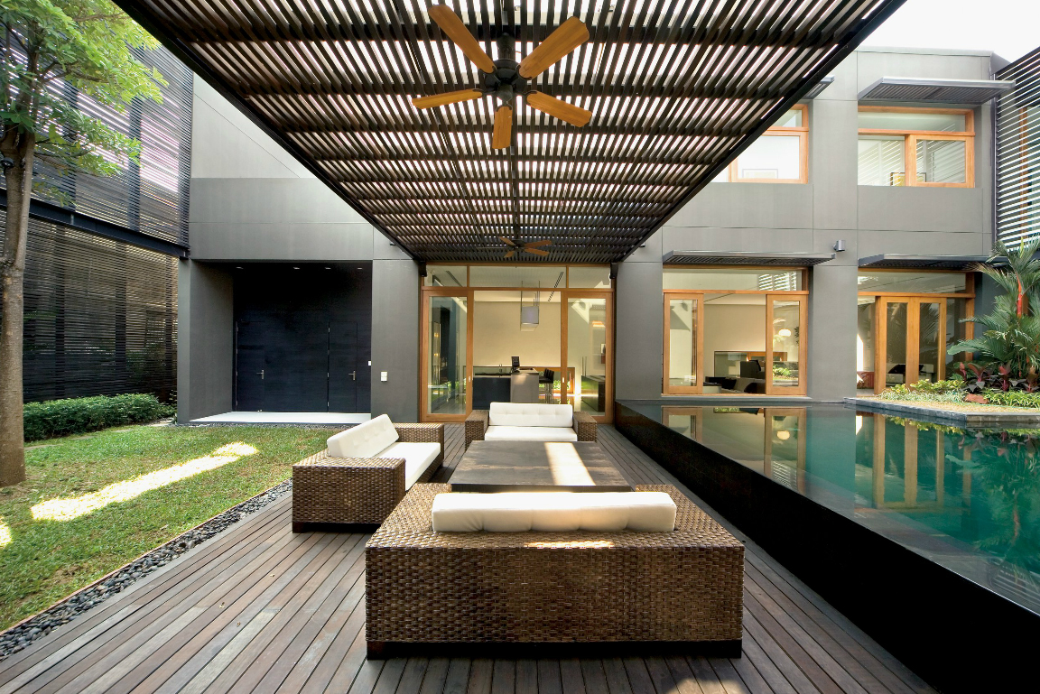 Residential design inspiration modern pool canopy for Modern house garden