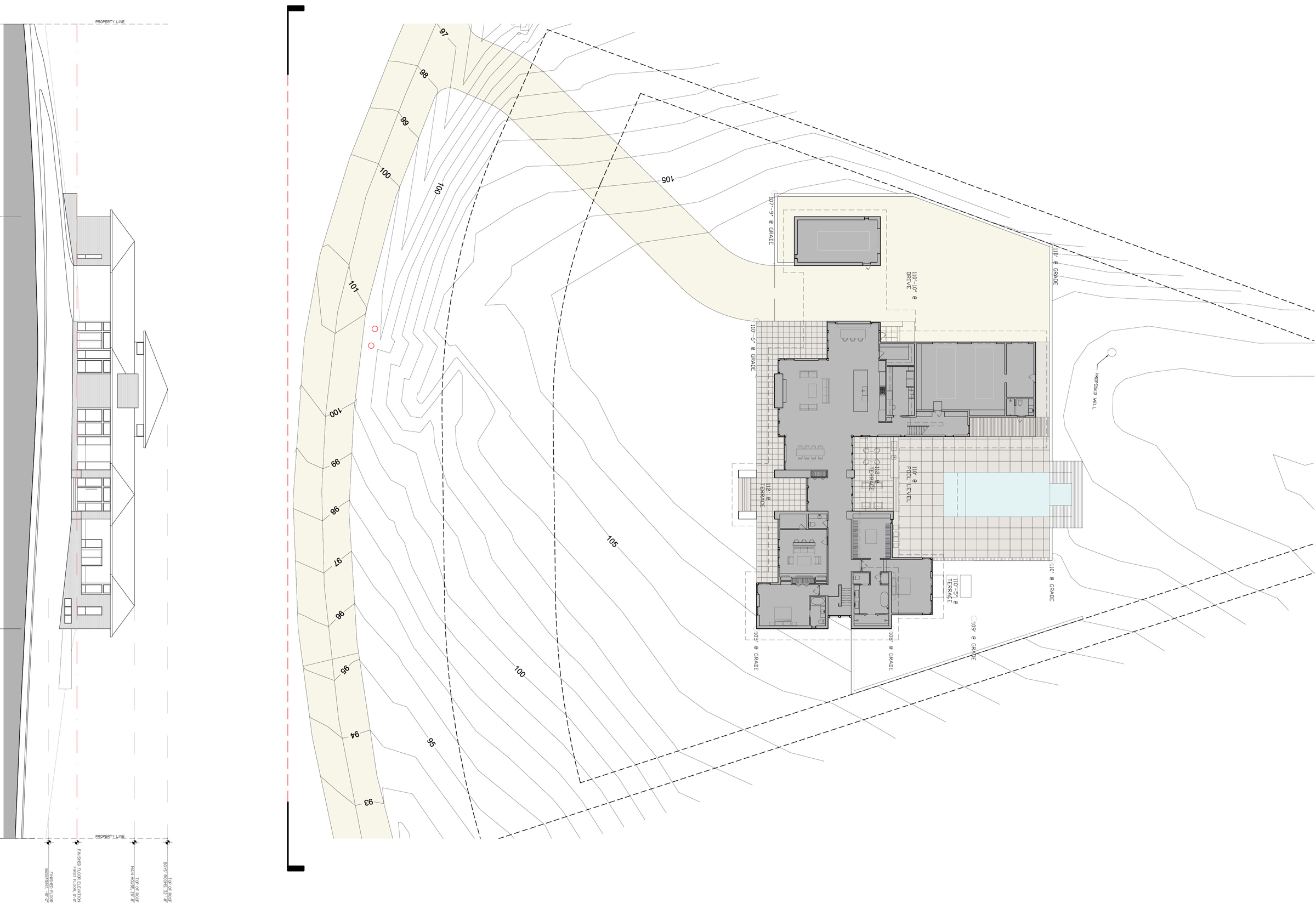 Architectural drawings sections site plan structure
