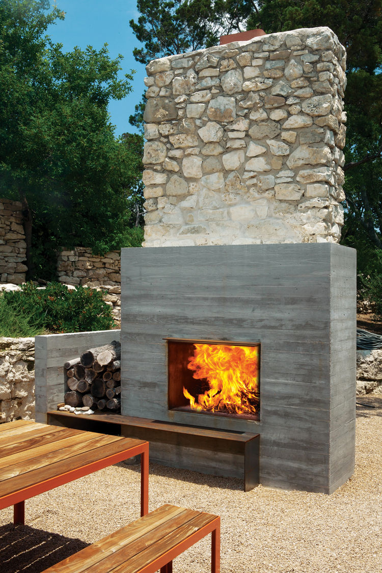Modern fireplaces rustic refined studio mm architect for Outside fireplace plans