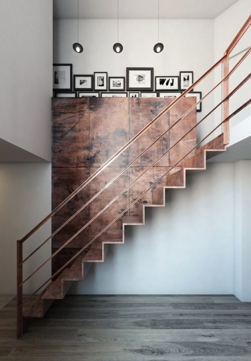 Modern Stair Design - Continuous Metal Staircase