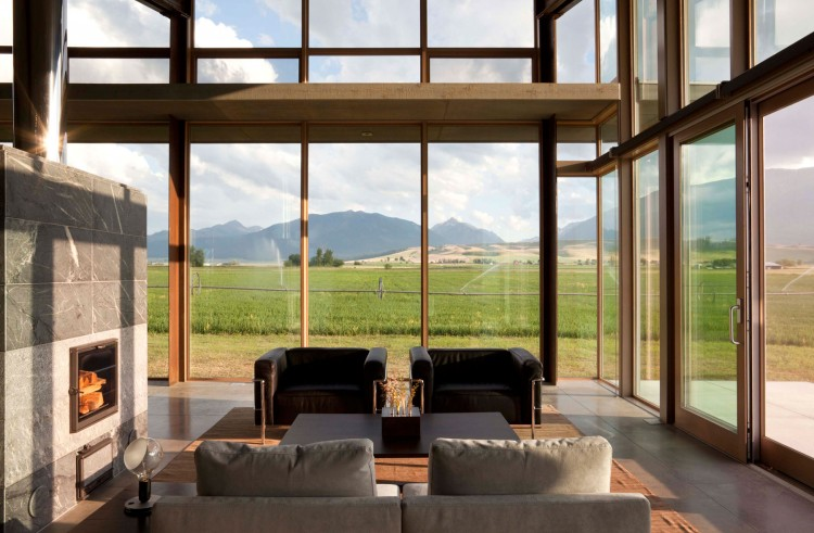 Glass Farmhouse by Olson Kundig- Central Fireplace