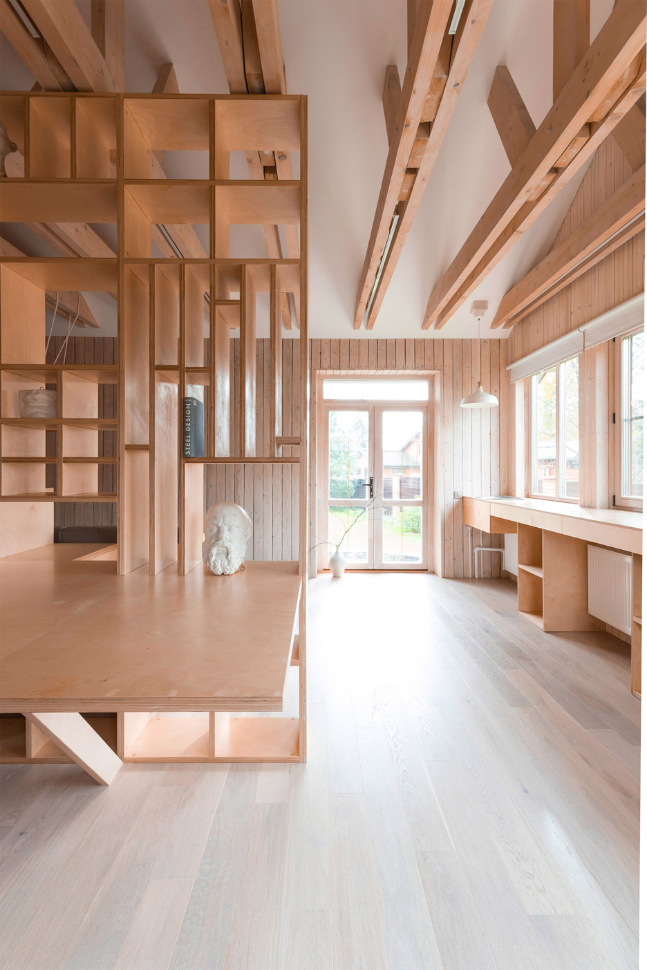 studio plywood artist architecture interior storage garage ruetemple moscow workshop seating workroom inspiration architects sleeping residential architect dezeen areas combines
